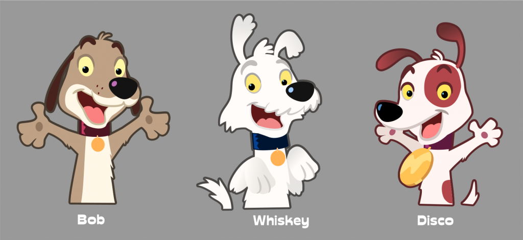 Three dog character designs.